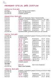 Kronshof-Special 2013: Zeitplan