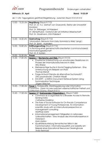 Programmübersicht Änderungen vorbehalten 1 Mittwoch ... - ISI 2009