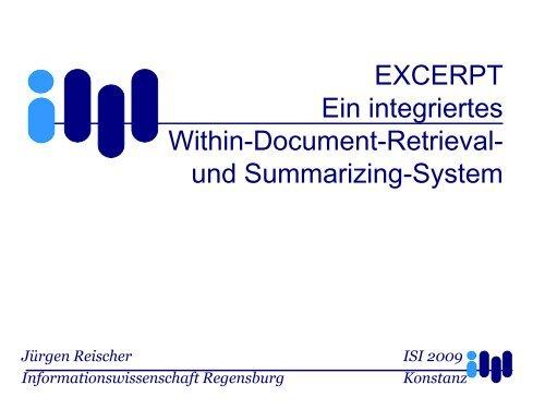 EXCERPT Ein integriertes Within-Document-Retrieval ... - ISI 2009