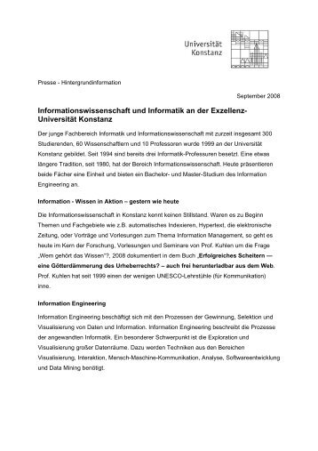 Über den Fachbereich Informationswissenschaft und ... - ISI 2009