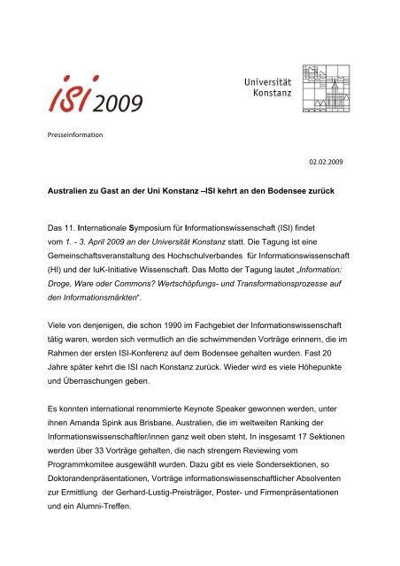 Presseinformation vom 02.02.2009 - ISI 2009