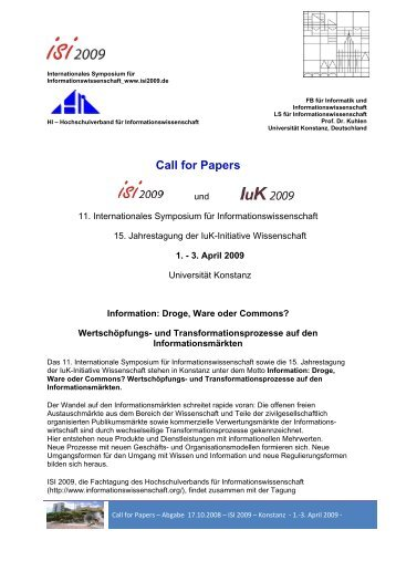 Call for Papers (deutsch) - ISI 2009