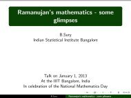 Ramanujan's mathematics - some glimpses - Indian Statistical Institute