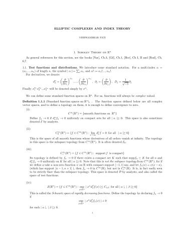 ELLIPTIC COMPLEXES AND INDEX THEORY 1. Sobolev Theory on ...