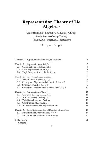 Representation Theory of Lie Algebras