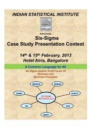 Six-Sigma Case Study Presentation Contest - Indian Statistical Institute