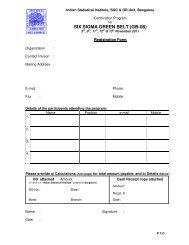 Program Registration Form - Indian Statistical Institute