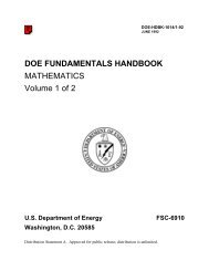 DOE Fundamentals Handbook - The Office of Health, Safety and ...