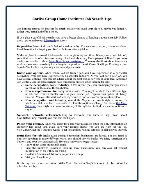 Corliss Group Home Institute: Job Search Tips