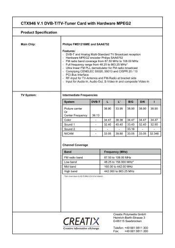 CTX946 V.1 Dvb-T/Tv-Tuner Card with Hardware MPEG2 - creatix