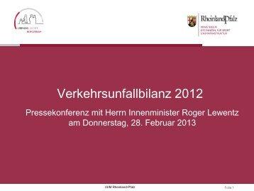 Verkehrsunfallbilanz 2012 - in Rheinland-Pfalz