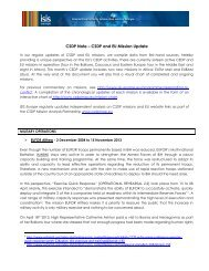 CSDP Note – CSDP and EU Mission Update - ISIS Europe