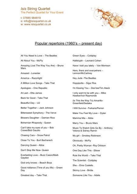 Isis String Quartet Popular repertoire (1960's – present day)