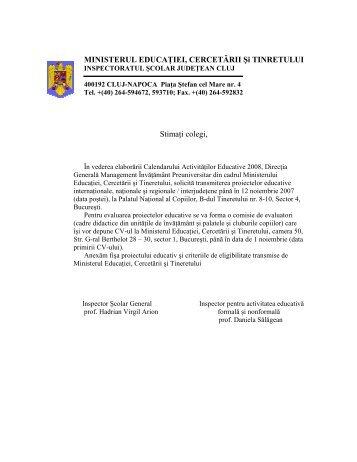 Calendarul Activitatilor Educative 2008 al MECT - Inspectoratul ...