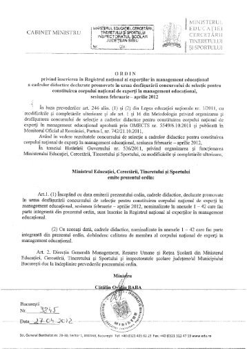 ORDIN NR 3845 din 27.04.2012 privind inscrierea in Registrul ...