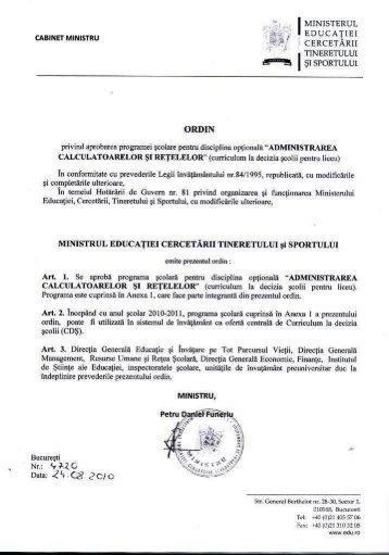 Ordin nr. 4720/24.08.2010 privind aprobarea programei scolare ...