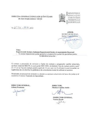 Fisele de evaluare pentru prescolari - Inspectoratul Şcolar al ...