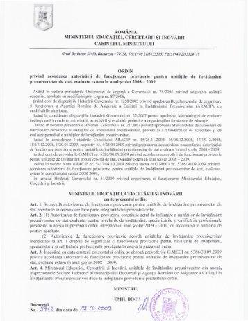 Ordin 5713/19.10.2009 privind acordarea autorizarii de