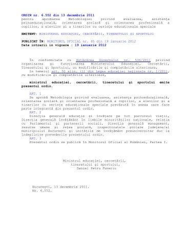 Ordinul 6552 din 2011 SEOSP - Inspectoratul Şcolar al Judeţului Sibiu
