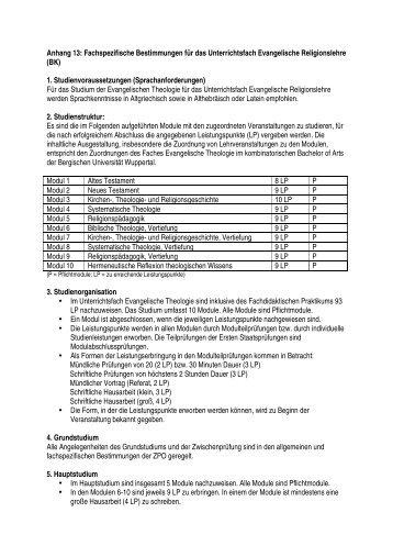 Anhang 13: Fachspezifische Bestimmungen für das ... - ISL
