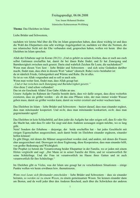 Ehe islam liebe in der Ist das