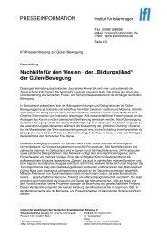 Pressemitteilung zur Gülen-Bewegung - Institut für Islamfragen