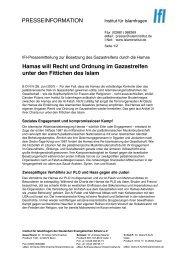 Pressemitteilung zur Besetzung des... - Institut für Islamfragen