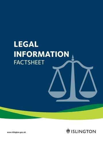 LEGAL InformAtIon - Islington Council