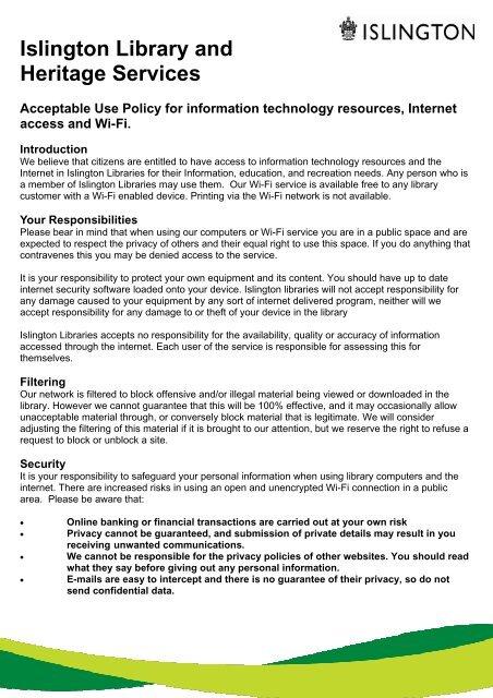 acceptable use policy inc wifi 30 09 2013 pub - Islington