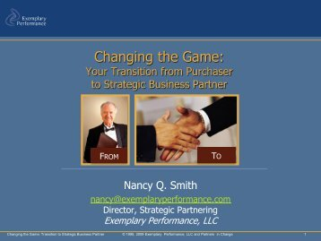 Your Transition from Purchaser to Strategic Business Partner