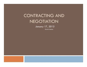 CONTRACTING AND NEGOTIATION