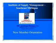 New Member Orientation - ISM Southeast Michigan