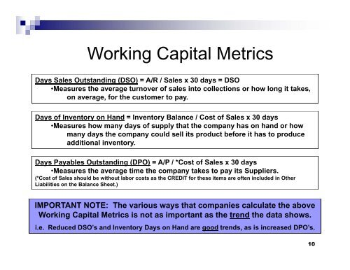 Working Capital Metrics D