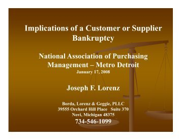 Bankruptcy Implications for Customers and Suppliers
