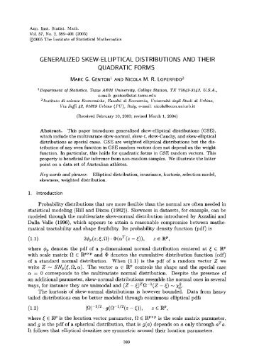 Generalized skew-elliptical distributions and their quadratic forms