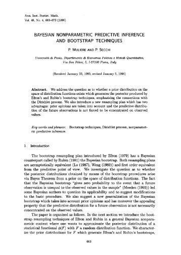 Bayesian nonparametric predictive inference and bootstrap ...