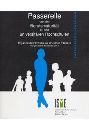 Ergänzende Hinweise zu den einzelnen Fächern - bei der ISME