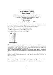 Maschinelles Lernen Übungsblatt 9 - ISMLL - Universität Hildesheim