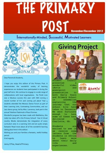 Primary newsletter - November/December - The International School ...