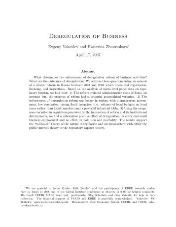 deregulation paper This paper assesses the impact of product market deregulation in upstream sectors on the productivity growth of firms in downstream sectors (ie those firms u.
