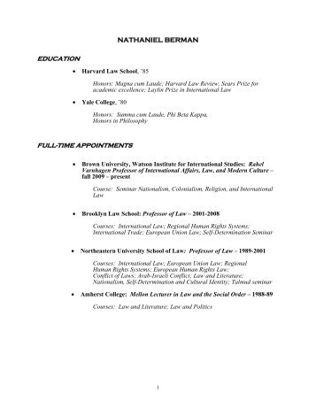 nathaniel berman education full-time appointments - The Watson ...