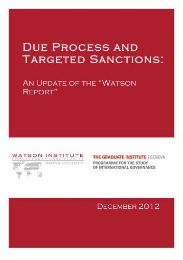 Due Process and Targeted Sanctions: - The Watson Institute for ...