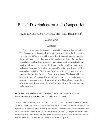 Racial Discrimination and Competition - The Watson Institute for ...