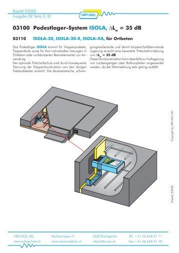 03100 Podestlager-System ISOLA, ∆L = 35 dB - HBT-ISOL AG