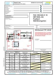 Bestelllisten zu allen ZD-Elementen - HBT-ISOL AG