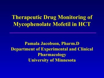Therapeutic Drug Monitoring of Mycophenolate Mofetil in HCT