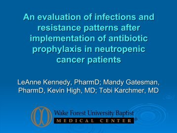 An evaluation of infections and resistance patterns after ...