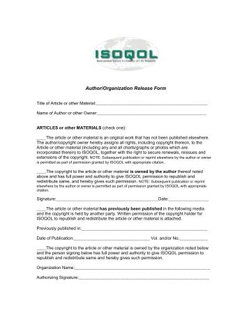 Copyright Release Form   ISOQOL