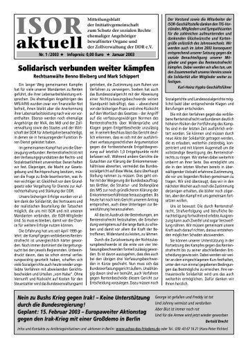 ISOR aktuell Ausgabe 01 / 2003
