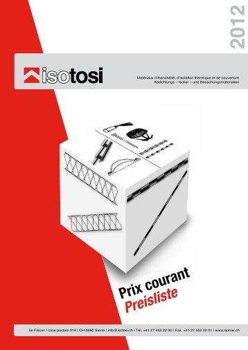 Prix courant Preisliste - Isotosi